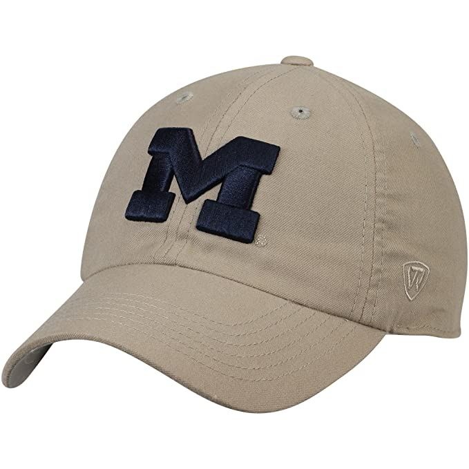 half off 11e56 79b03 Amazon.com   Top of the World Michigan Wolverines Main Unstructured  Adjustable Hat Khaki   Clothing