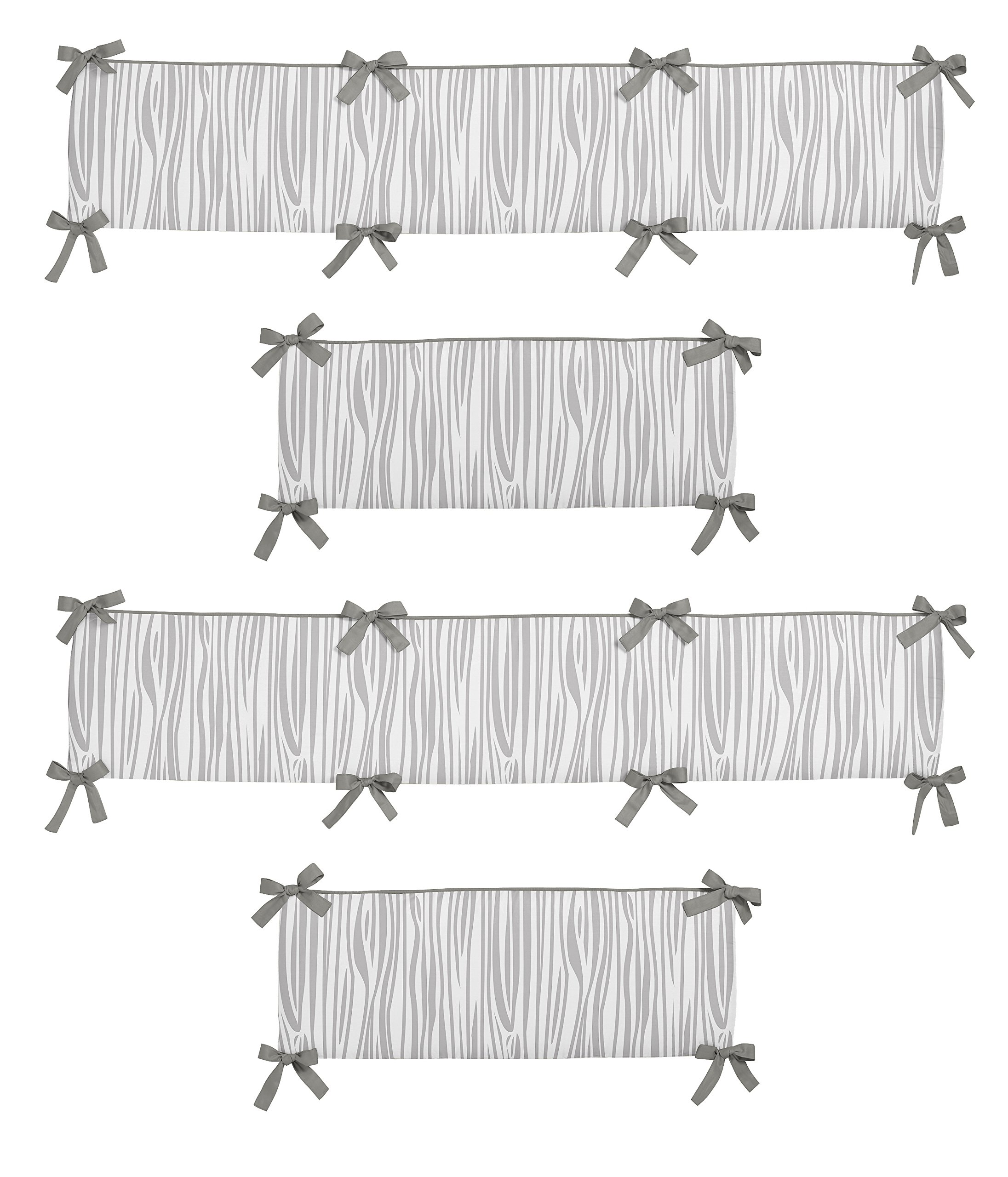 Sweet Jojo Designs Grey and White Wood Grain Baby Crib Bumper Pad for Woodsy Collection by by Sweet Jojo Designs (Image #1)