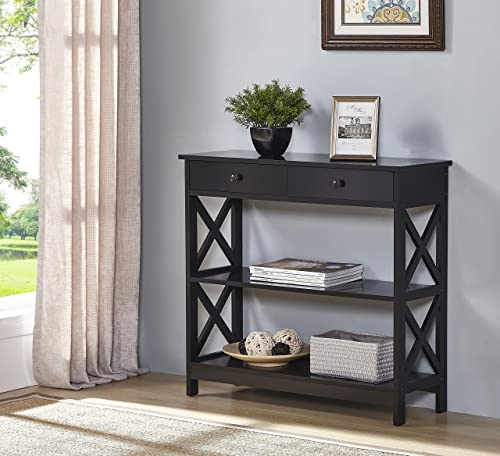 Black Finish 3-Tier Console Sofa Entry Table with Shelf Two Drawers