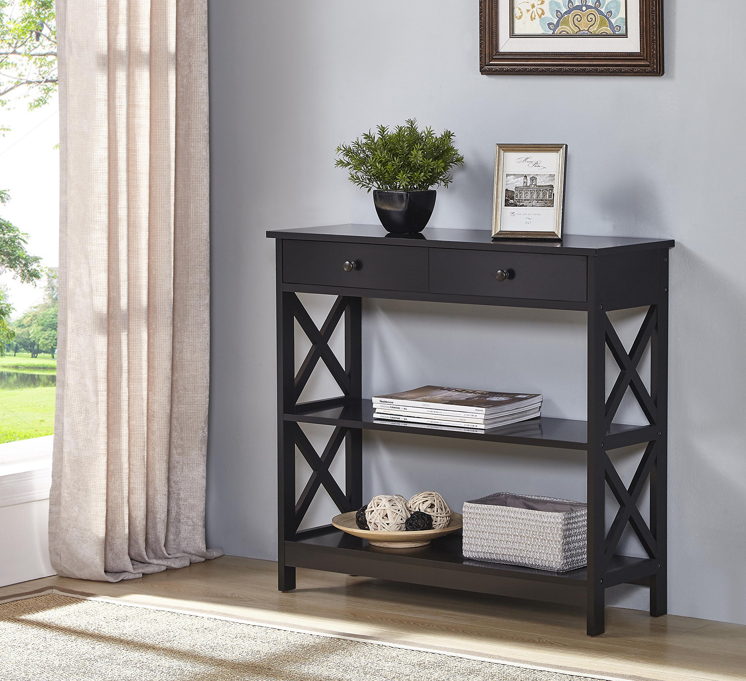 Black Finish 3-Tier Console Sofa Entry Table with Shelf/Two Drawers