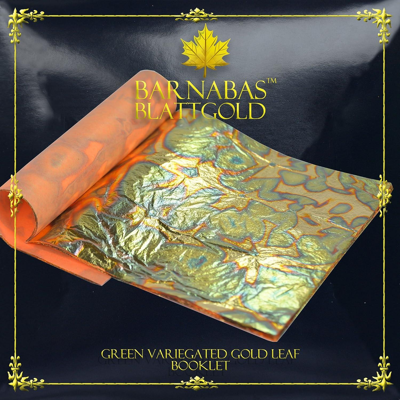 Variegated Gold Leaf Sheets - by Barnabas Blattgold - Color - Light Blue - 25 Sheets - 5.5 inches Booklet BKT-VAR-BLU-25