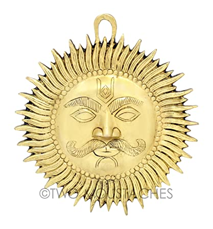 Buy Two Moustaches Designer Sun Wall Hanging Brass Showpiece Online ...