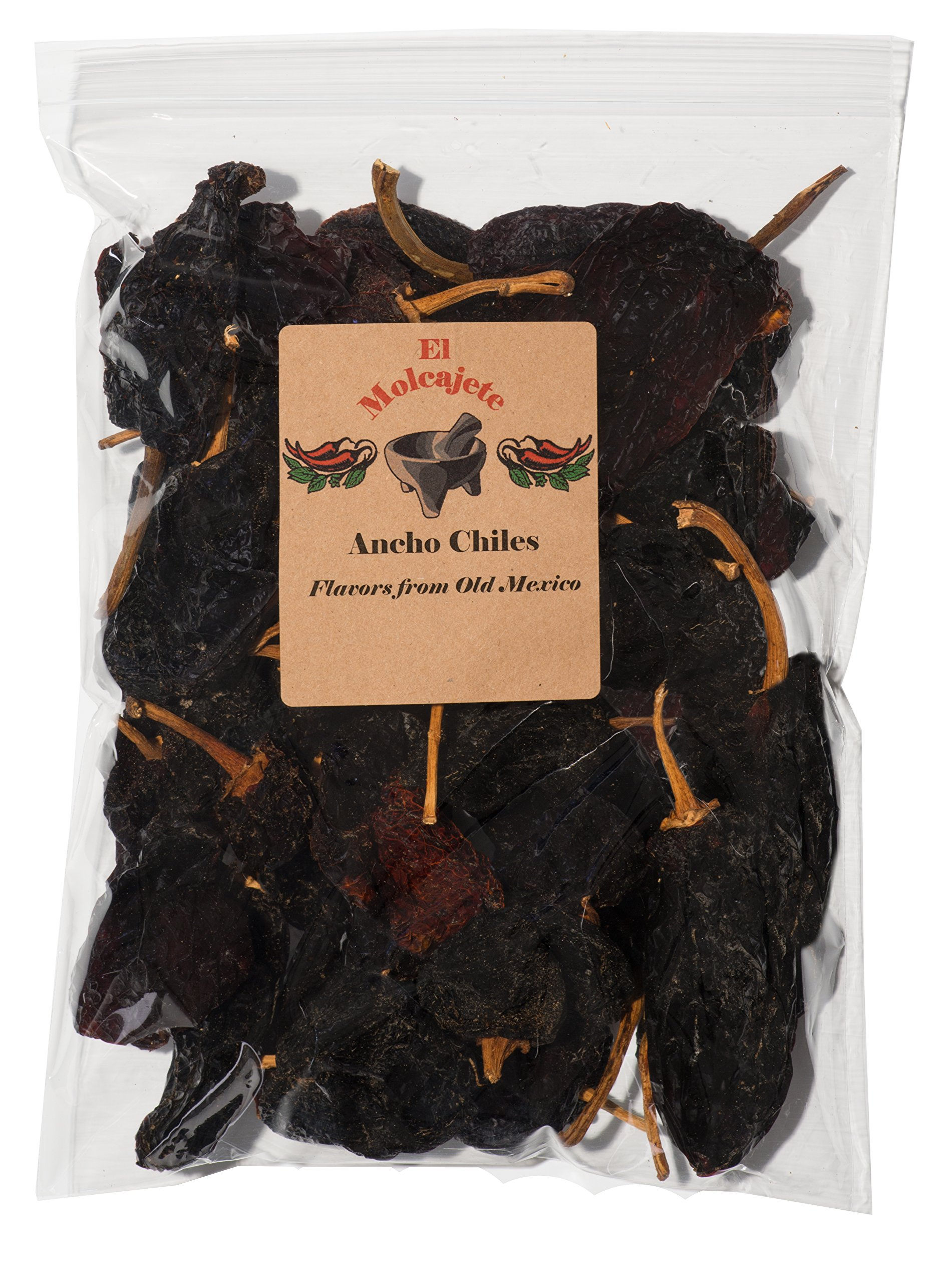 Dried Ancho Chiles Peppers El Molcajete Brand 16 oz Resealable Bag - Mexican Recipes, Chilis, Tamales, Salsa, Chili, Meats, Soups, Mole, Stews & BBQ