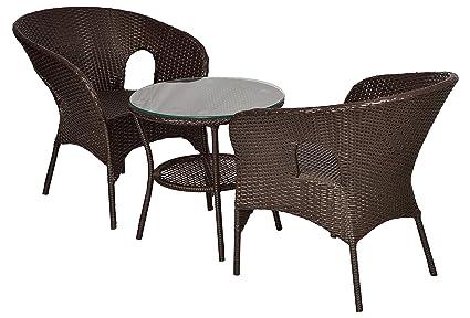 """FurniFutureâ""""¢ Saturn Outdoor Patio Furniture Set 2+1 - (Brown)"""