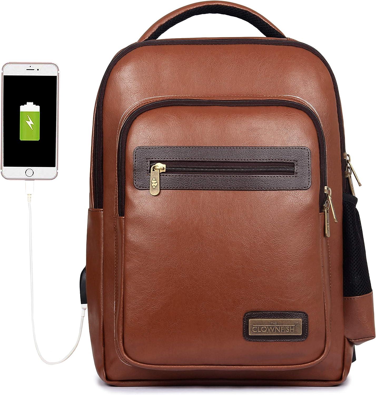 Vegan Leather Backpack, 15.6 inch Business Vegan Leather Laptop Backpack for Men and Women Laptop Bag Back Pack Travel Bag Bagpack School College Bookbag Laptop Computer Bags Brown