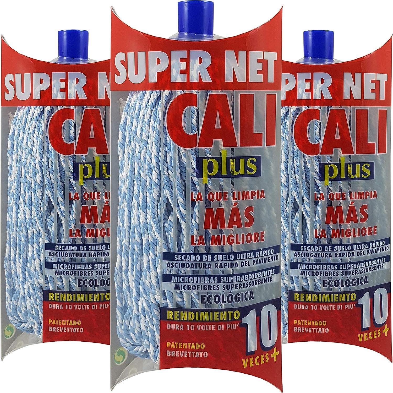 Azul, 1 Super Net Cali Fregona de Microfibras Bicolor