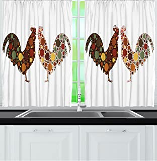 Kitchen Curtains chicken kitchen curtains : Amazon.com: BROWN ROOSTER CHICKEN Fully Lined PRAIRIE WINDOW ...