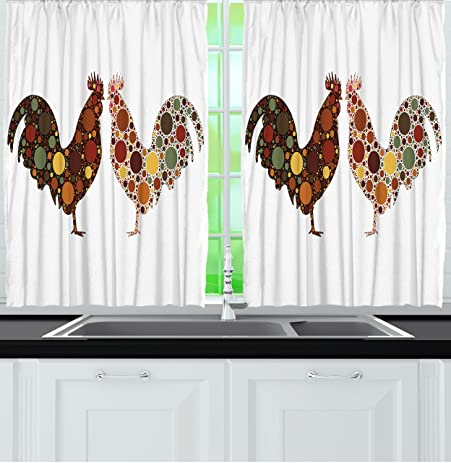 Captivating Kitchen Curtains By Ambesonne, Rooster In Polka Dots Country Decor Curtains  For Kitchen Windows Brown