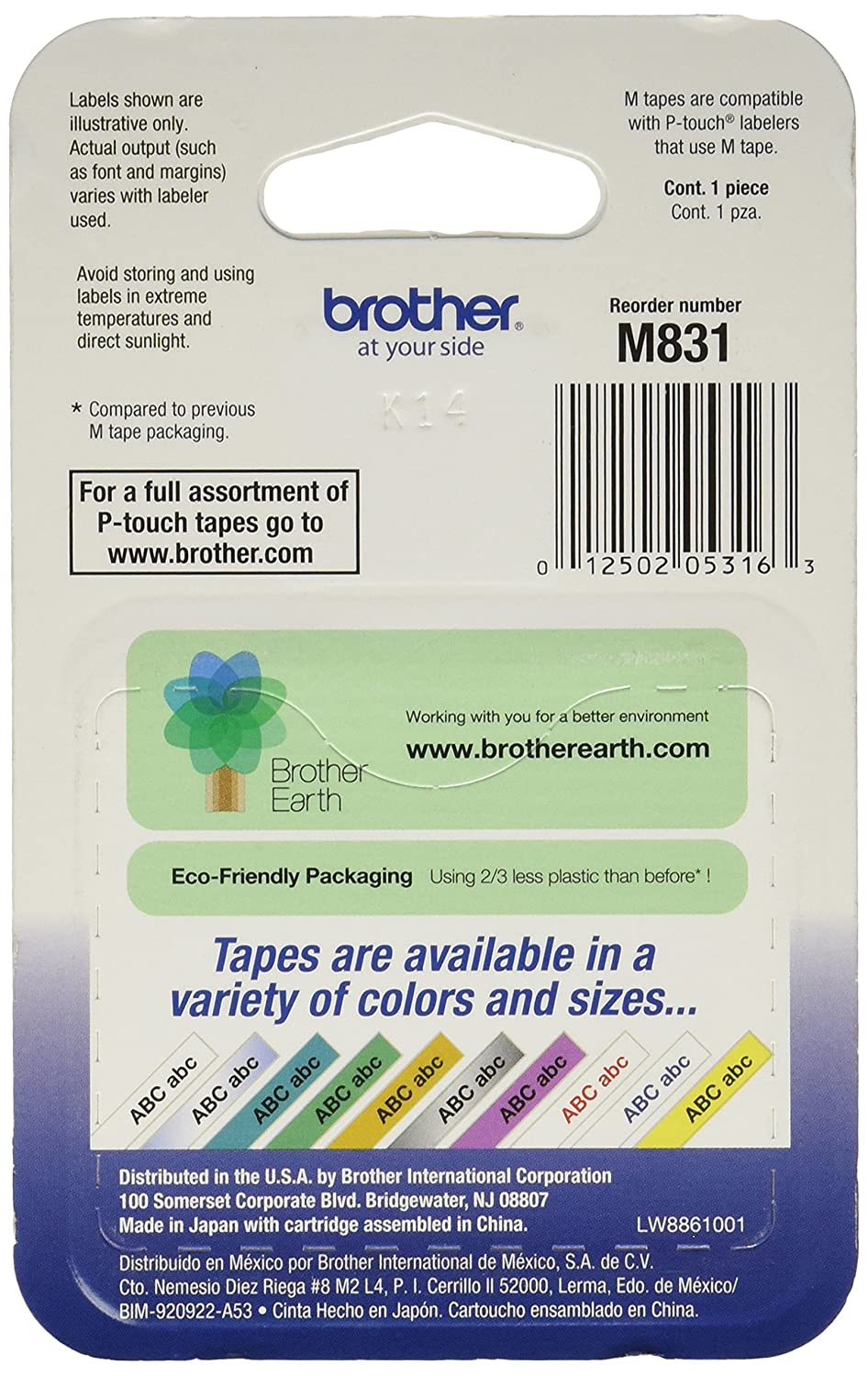 Amazon.com : Brother Tape Cartridge 0.5IN Wide, Non-laminated Black ...