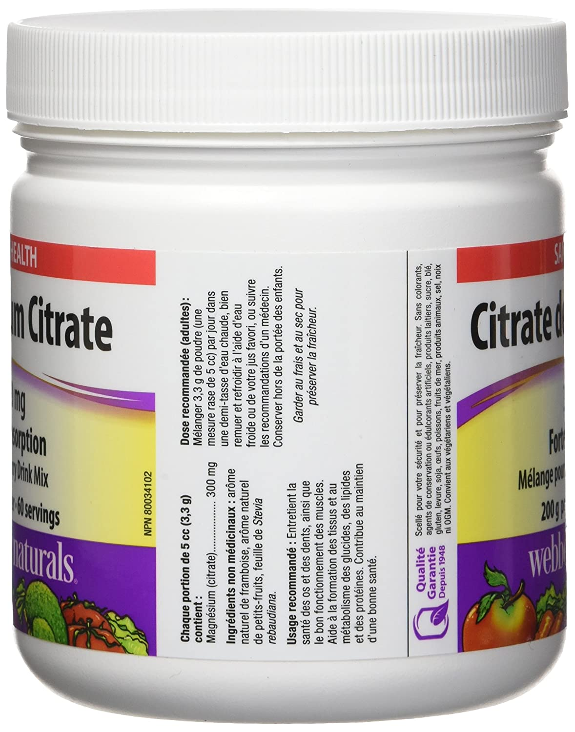 Amazon.com: Webber Naturals Magnesium Citrate Powder 300 mg, 200g: Health & Personal Care