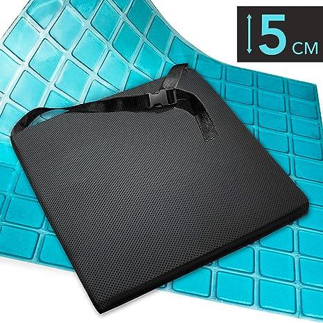 AIESI Cojín Antiescaras Profesional (Certificado) Memory en poliuretano expandido con cojín interior de gel viscoelástico y cinturón cm 44x44x5h ✔ ...