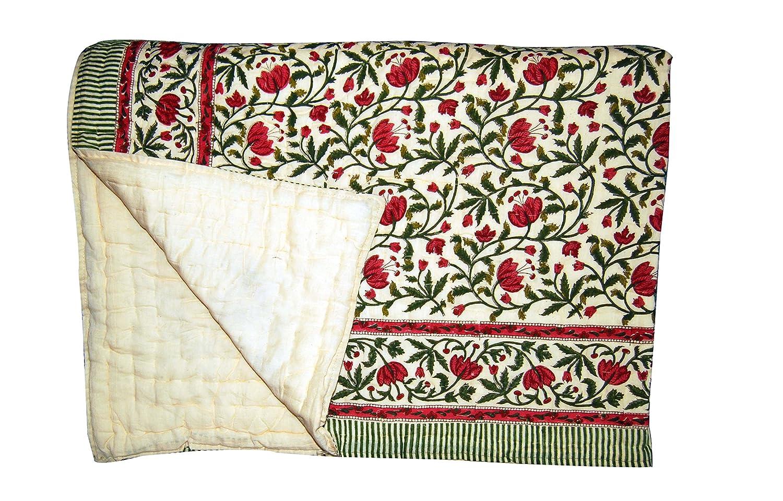Traditinal Jaipuri Printed 100% Cotton Double Bed Quilts/Razai