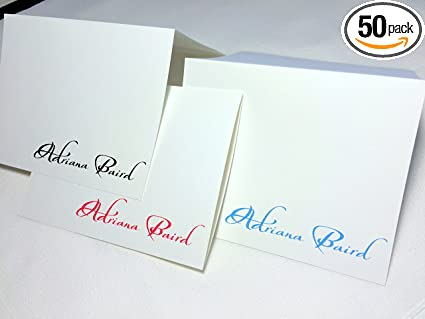 Amazon Com 50 Note Cards Personalized With Any Name Set Of 50 With Matching Envelopes Choose From Many Color Options Printed On White Linen Textured Card Stock A Great Personalized Gift Health