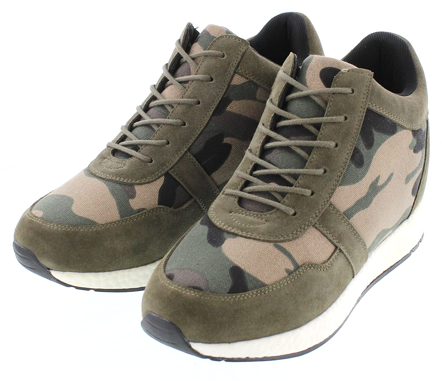 3.2 Inches Taller Camo Green Canvas Lightweight Lace-up Casual Trainers Sneakers CALTO Mens Invisible Height Increasing Elevator Shoes H7241