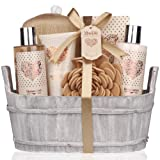 Amazon Price History for:Mothers Day Gift Idea Spa Gift Basket – Bath and Body Set with Vanilla Fragrance by Lovestee - Bath Gift Basket Includes Shower Gel, Body Lotion, Hand Lotion, Bath Salt, Eva Sponge and a Bath Puff