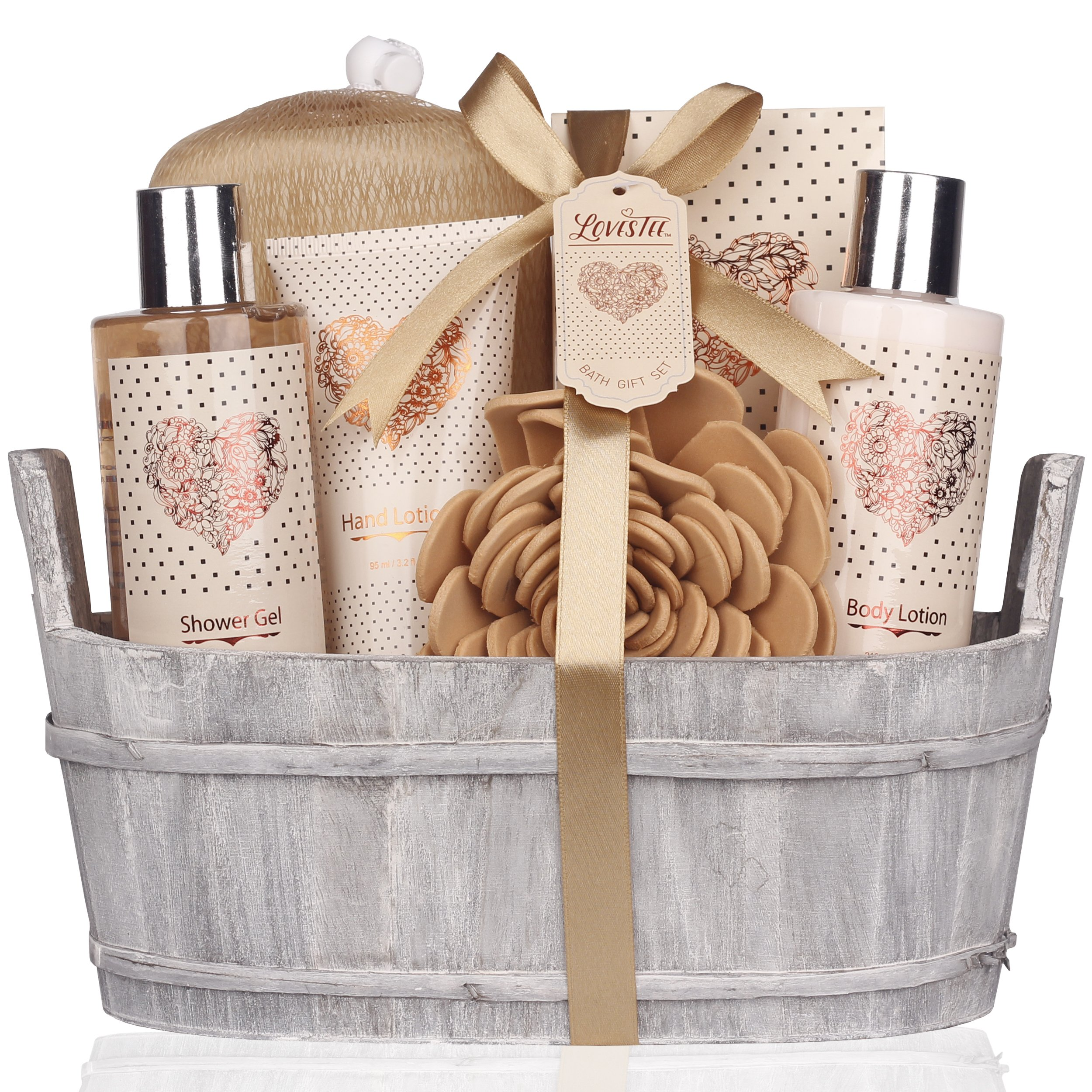 Mothers Day Gift Idea Spa Gift Basket – Bath and Body Set with Vanilla Fragrance by Lovestee - Bath Gift Basket Includes Shower Gel, Body Lotion, Hand Lotion, Bath Salt, Eva Sponge and a Bath Puff