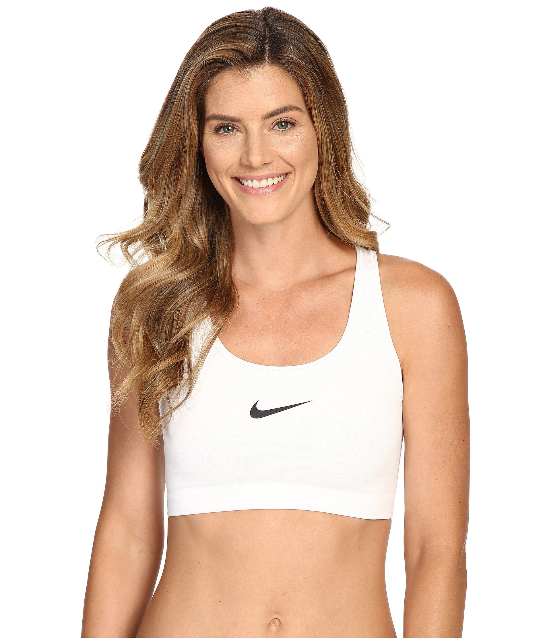 NIKE Women's Swoosh Sports Bra, White/Black, Medium