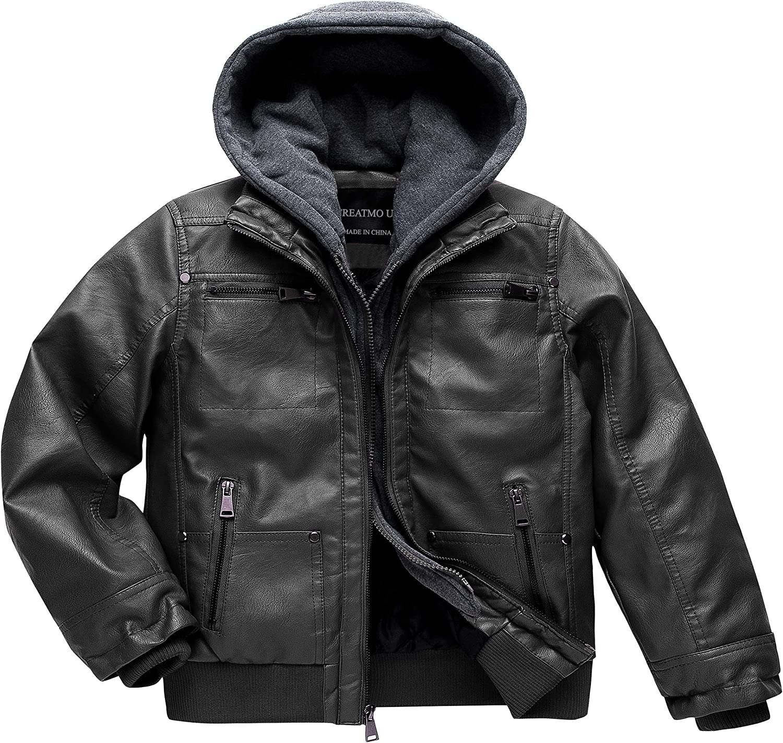 Boys Faux Leather Jacket Windproof Warm Winter Coat Kids Bomber Outerwear Waterproof PU Motorcycle Jacket