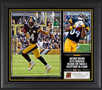 """6dfb81258dd Antonio Brown Pittsburgh Steelers Framed 15"""" x 17"""" Franchise  Record Collage with a Piece"""