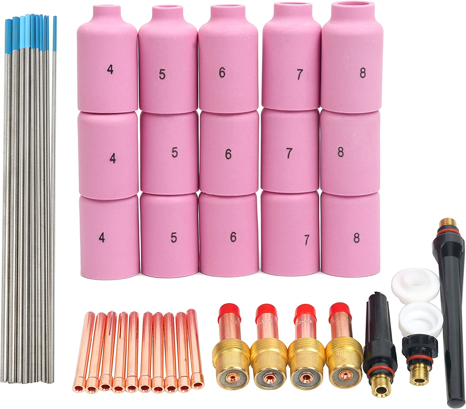 46Pcs Tig Kit Gas Lens For Wp-17 Wp-18 Wp-26 WL20 Torch Accessories Spares