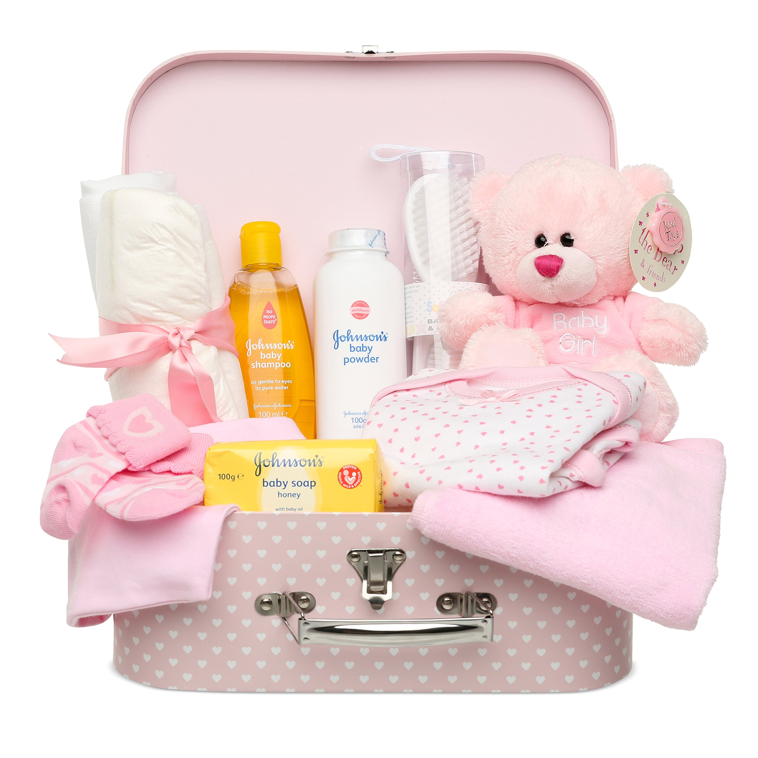 Newborn Baby Gift Set - Keepsake Box in Pink with Baby Clothes, Teddy Bear and Gifts for a New Baby Girl