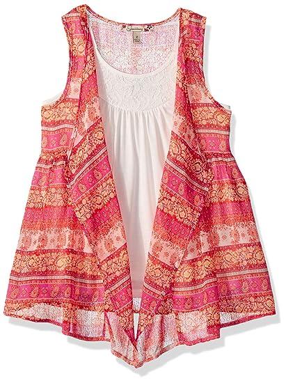 8ff86640a4 Amazon.com  Speechless Girls  Big 2 Piece Chiffon Hanky Hem Vest with Top   Clothing