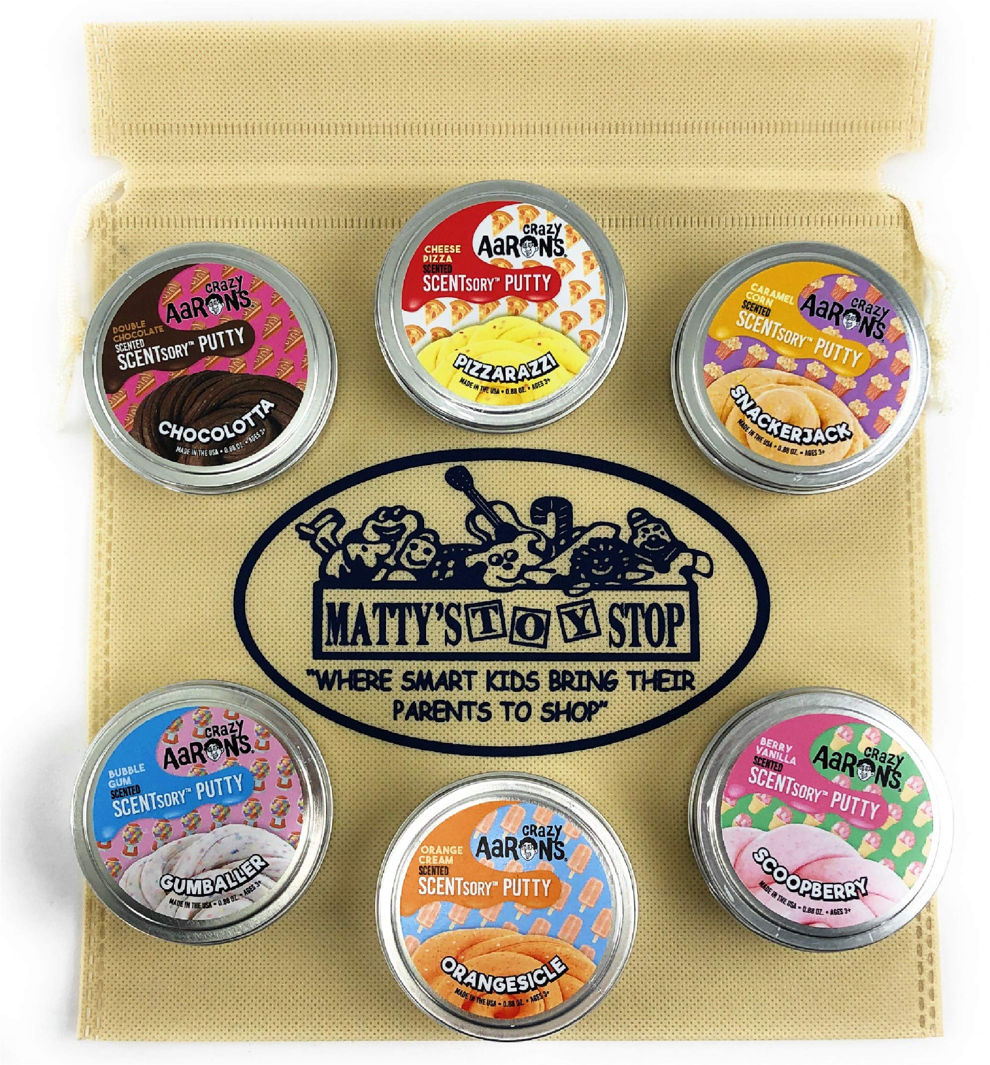 Crazy Aaron's Thinking Putty SCENTSory Tins Deluxe Gift Set Bundle Featuring Pizzarazzi, Gumballer, Chocolatta, Snackerjack, Scoopberry, Orangesicle & Bonus Matty's Toy Stop Bag - 6 Pack (.88 oz each) by Crazy Aaron's (Image #3)