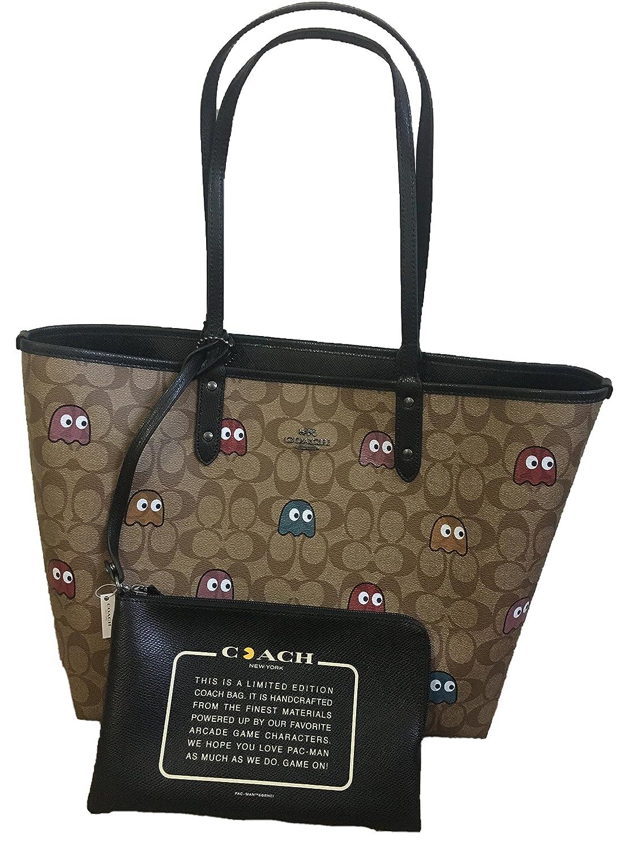 Amazon.com  COACH PAC-MAN SIGNATURE TOTE   MAKE UP BAG REVERSIBLE  Shoes 8932f8e8bd323