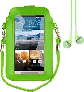 "Mini PU Leather Touch Screen Window Wallet Case for BLU Dash L3/Grand M/Studio J5/Tank Xtreme 4.0/Alcatel A3/U5/Asus Zenfone Live 5"" + Vangoddy Earbud (Green/Green)"
