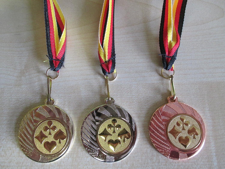 Fanshop L/ünen Medaillen Set mit Emblem 25mm Gold,Silber,Bronce, Medaillenset - - mit Medaillen-Band Skat Metall 50mm Poker Silber Bronze Gold