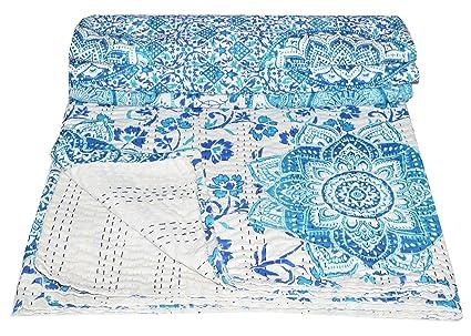 Multi Floral Elegant Designs Indian Patch Work Cotton Kantha Quilt Queen Bedspreads Throw Blanket