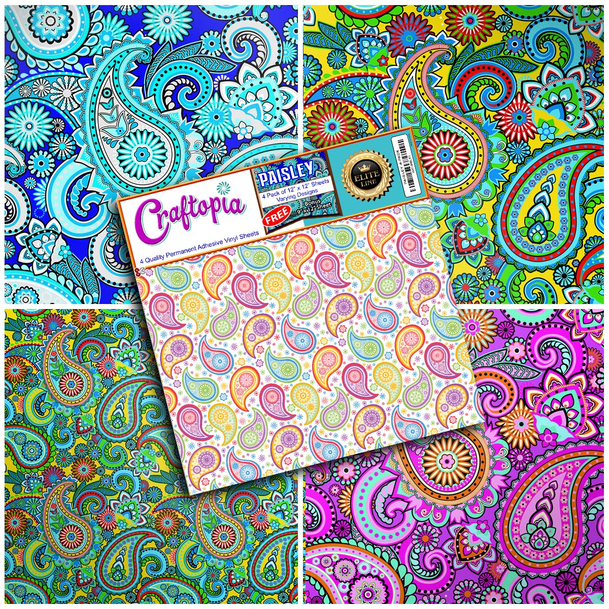 Craftopia's Paisley Pattern Self Adhesive Craft Vinyl Sheets | 4+1 Assorted Vinyl Pack for Cricut, Silhouette Cameo, Craft Cutters, Printers, Letters, Decals