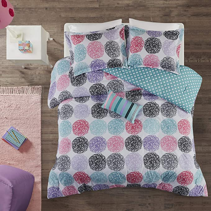 Mi Zone Carly Comforter Set Full Queen Size Teal Purple Doodled Circles Polka Dots 4 Piece Bed Sets Ultra Soft Microfiber Teen Bedding For Girls Bedroom Home Kitchen Amazon Com