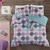 Mi Zone - Carly Comforter Set - Purple - Twin/ Twin XL - Doodled Circles, Polka Dots & Twill Tapes - Includes 1…