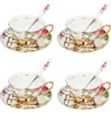 ARTVIGOR China Cup and Saucer Set with Spoon Dog and Cat Printed New Bone, 37x10.5x35.5cm, Cafe Mocha and Tea - Set of 4, Multicolor