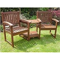 Hardwood Garden Bench Companion Set Henley Love Seat Outdoor Living Garden Patio Furniture