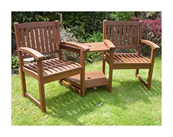 Fantastic Hardwood Garden Bench Companion Set Henley Love Seat Outdoor Living Garden Patio Furniture Download Free Architecture Designs Sospemadebymaigaardcom