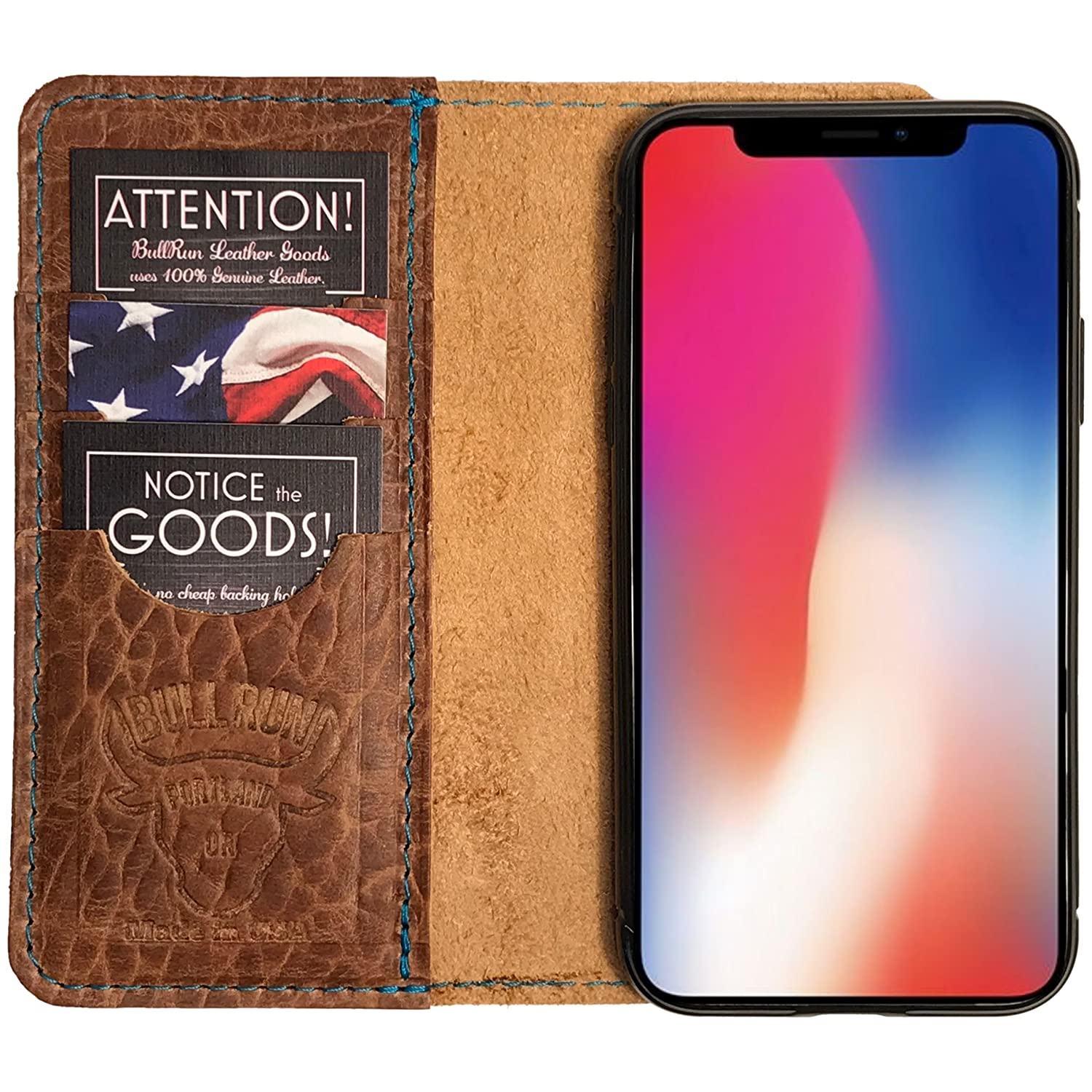 hot sale online cb520 d5caf iPhone X case, iPhone X Wallet Case Genuine Leather, Best Screen Protector,  Folio Case/iPhone X Flip Case, Distressed American Full Grain Leather, ...