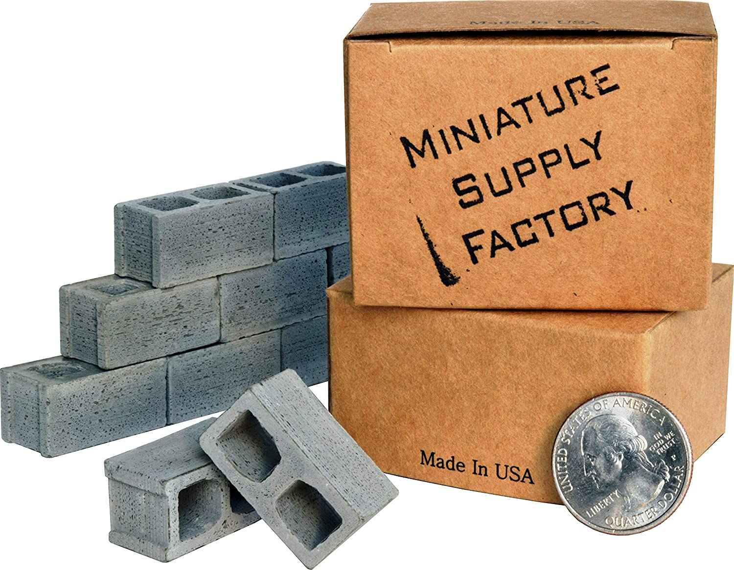 1/12 Scale Mini Cinder Blocks (24 Pack) Premium Quality – Handmade in USA. Miniature Concrete Bricks. Cool Gadgets or Gag Gift for Men, Teens, Your Desk