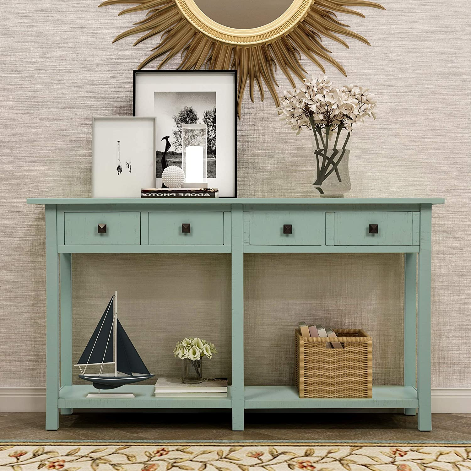 Rustic Brushed Texture Entryway Table with Storage Drawers, WeYoung Console Table with Drawers and Bottom Shelf for Living Room (Tiffany Blue)