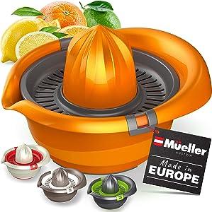 Mueller Citrus Lemon Orange Juicer, Hand Squeezer Rotation Press, Manual Juicer with Easy Pour Spout, European Made, Dishwasher Safe, Orange