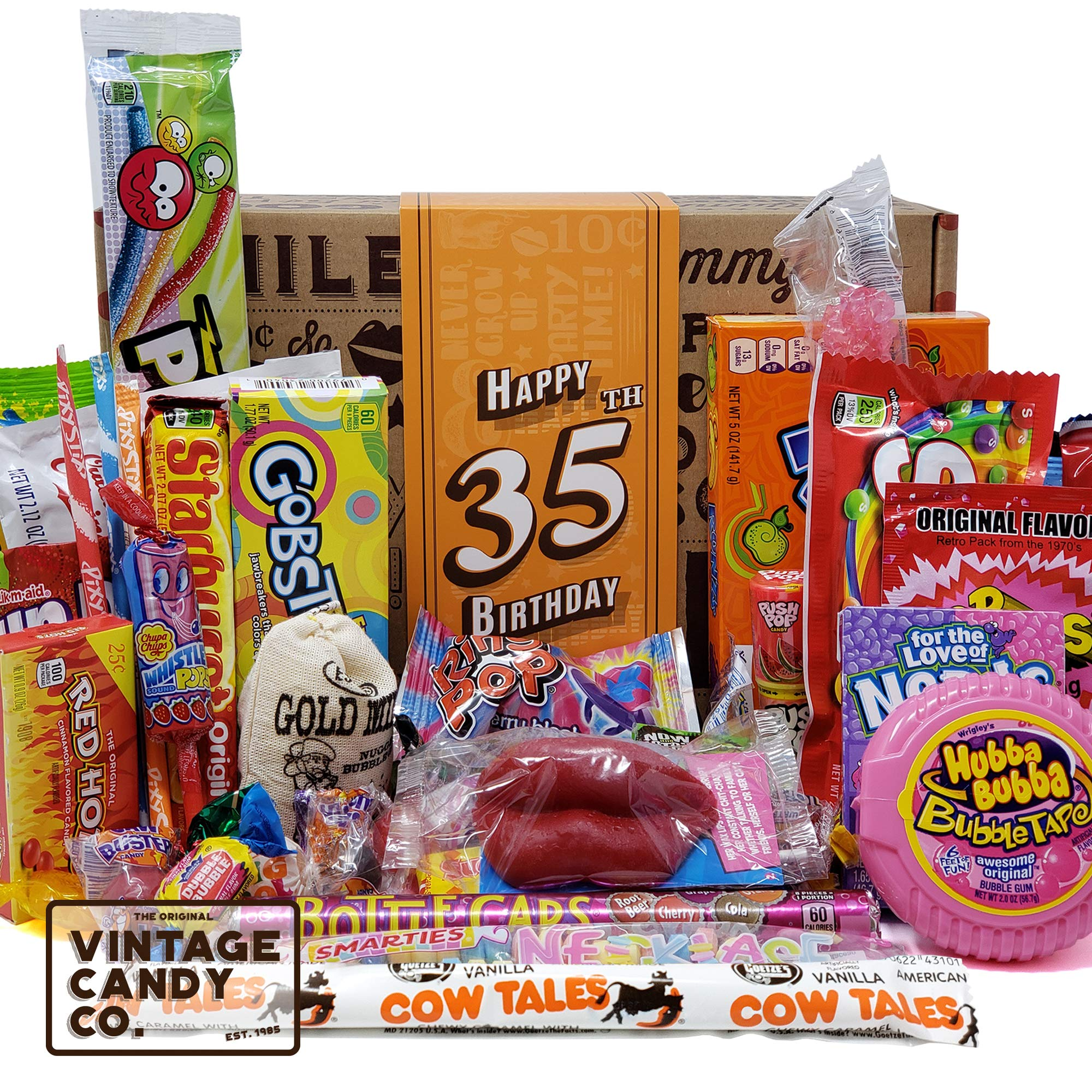 VINTAGE CANDY CO. 35TH BIRTHDAY RETRO CANDY GIFT BOX - 1984 Decade Childhood Nostalgic Candies - Fun Funny Gag Gift Basket - Milestone 35 Birthday PERFECT For THIRTY FIVE Year Old Man | Woman