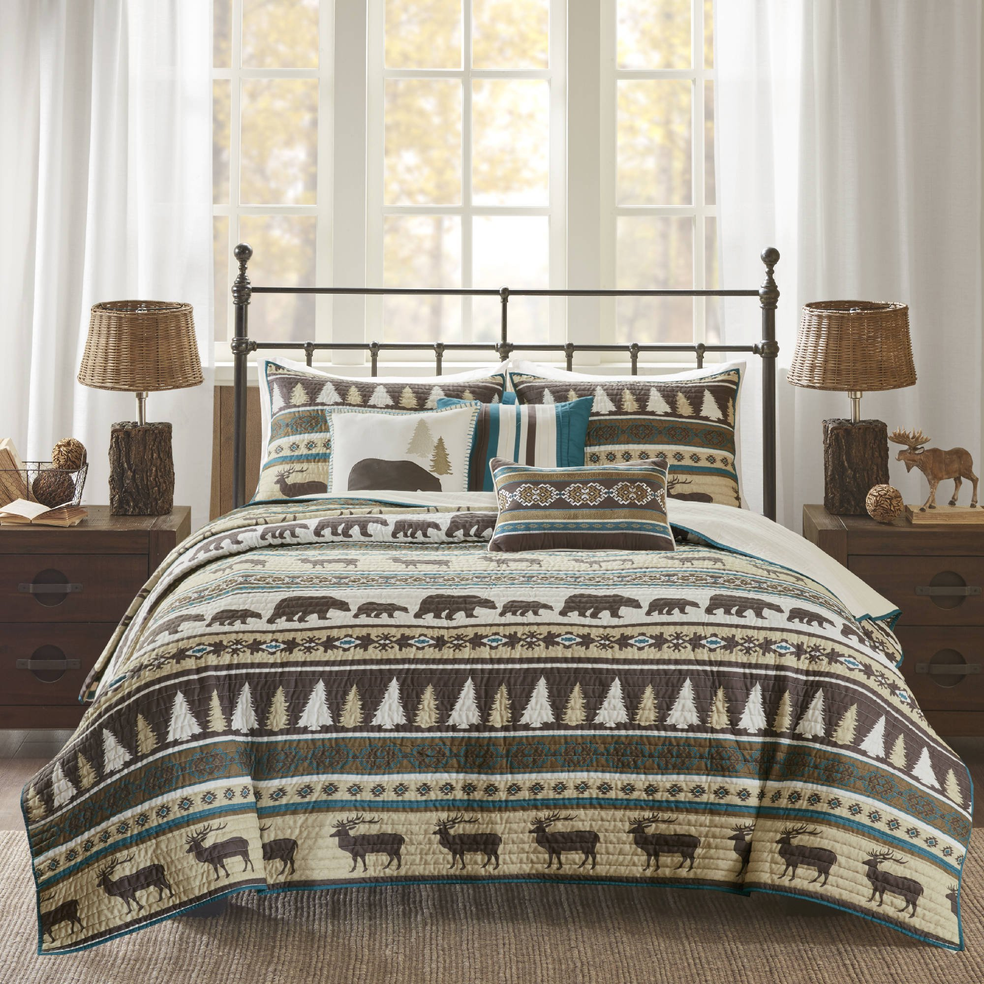 6 Piece Brown White Stripe King/Cal King Coverlet Set, Lodge Animal Print Themed Bedding, Cabin Country Tartan Pattern Cottage Woods Bears Deer Pine Trees Horizontal Diamond Patterns,Polyester by D&A (Image #1)
