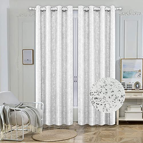 Nashville Collection Blackout Window Panel Set Thermal Sparkle Curtains Silver Metallic Design Darkening Drapes 54 Width 84 inch Long for Living Room Bedroom Dining 100 Blackout White
