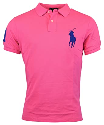 1273242b Polo Ralph Lauren Mens Custom Fit Big Pony Mesh Polo Shirt - L - Pink at Amazon  Men's Clothing store: