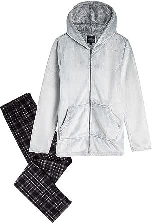 CityComfort Pijama Hombre, Pijama Hombre Invierno Forro Polar, Ropa de Dormir Super Suave, Pantalon y Sudadera con Capucha, Regalos para Hombres y Adolescentes