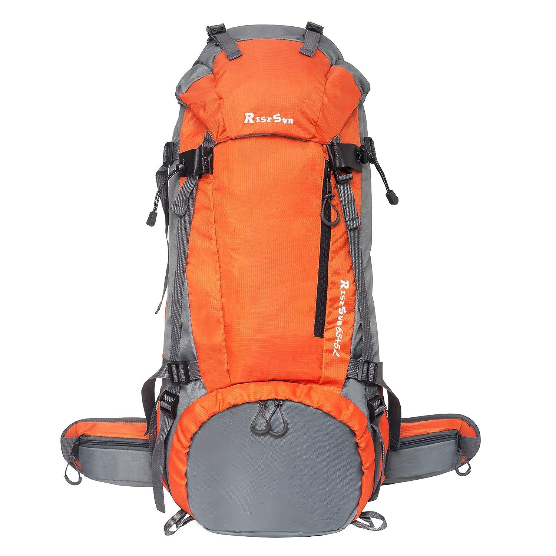 RiseSun 70L Trekking Sac avec Housse de Pluie pour l'escalade,Le Camping,la randonné e pé destre, Voyage et Alpinisme