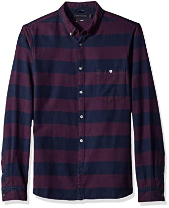 945e50ed2 Amazon.com: French Connection Men's Classic Flannel Slim Striped Shirt:  Clothing