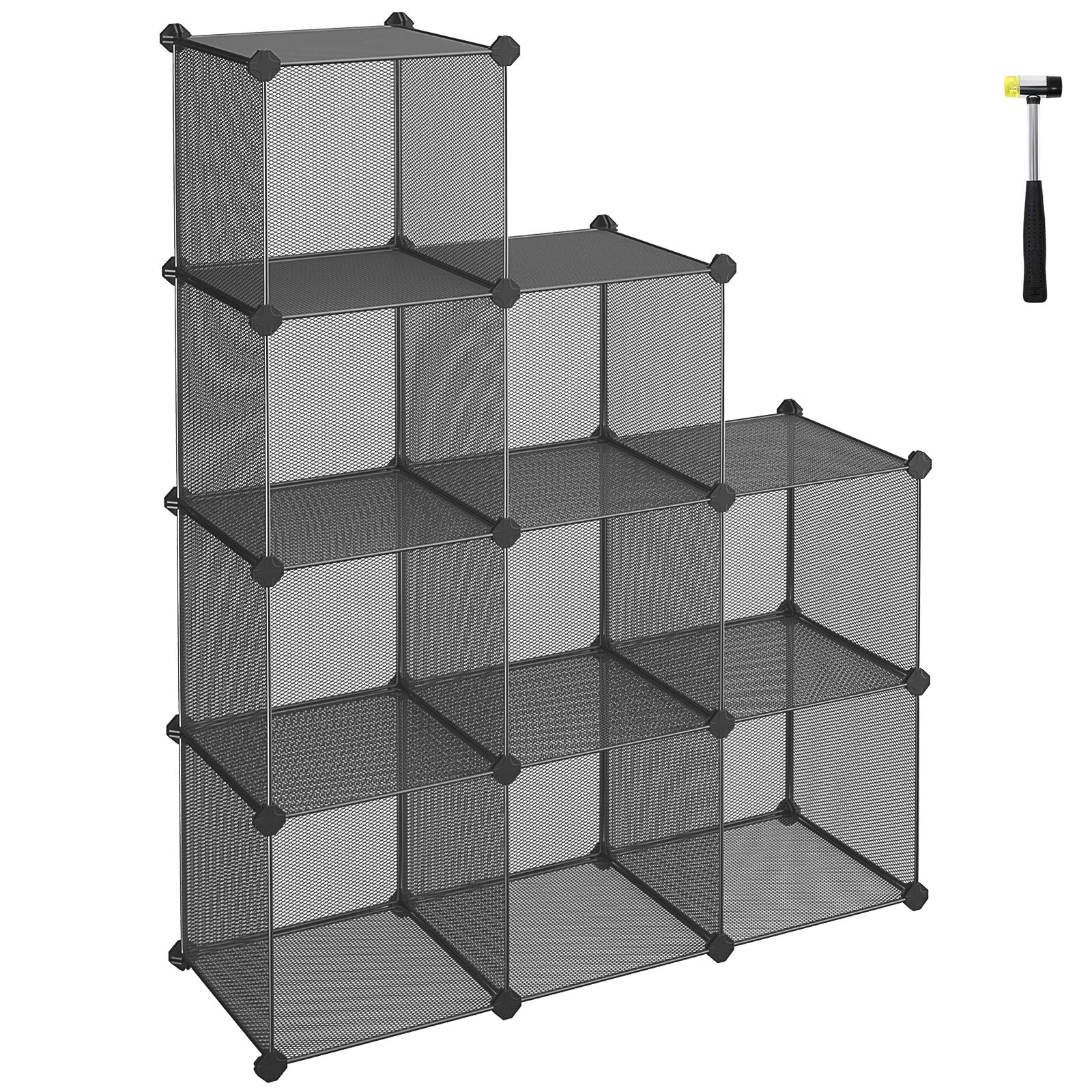 SONGMICS 9-Cube Metal Mesh Storage Cube, Book Shelf, Modular Bookcase, DIY Closet Cabinet Organizer for Books, Plants, Toys, Shoes, Clothes 36.6''L x 12.2''W x 48.4''H, Gray ULPL115G