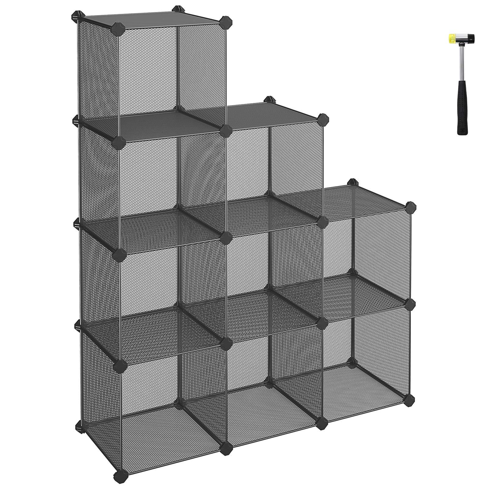 SONGMICS 9-Cube Metal Mesh Storage Cube, Book Shelf, Modular Bookcase, DIY Closet Cabinet Organizer for Books, Plants, Toys, Shoes, Clothes 36.6''L x 12.2''W x 48.4''H, Gray ULPL115G by SONGMICS (Image #1)